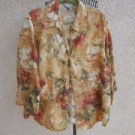Harve Benard Shirt 3X Floral 3/4 Linen Top Plus Career Brown Rust Roses New NWOT