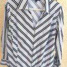Jones New York Shirt 1X Striped Long Sleeves Gray Black Silver Metallic Used