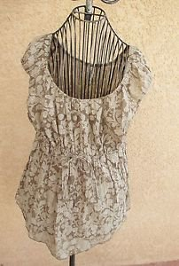 L.A. Blues Tank Top L Taupe Cream Semi Sheer Golden Specks Wrinkle Free New