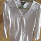 Lauren Ralph Lauren Size L White Stretch Thick Rib Knit Top Career Blouse New