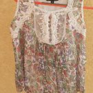 Floral 16W Tank Top Pink Blue White Purple Flowers Lace Embellished Lined New