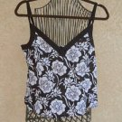 H & M Size 14 Tank Top Linen Blouse Brown Beige Career Floral New with Tag NWT
