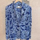 Slinky Brand Acetate Cardigan Sweater L Jacket Blue Floral Print Career New NWOT