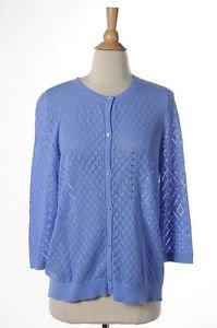 Ann Taylor LOFT Petite Large PL Blue Cotton Cardigan Sweater 3/4 Sleeves New