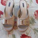 Alex Marie 8 M Beige Slides Shoes Patent Leather Faux Croc Buckle Low Heels NWOB