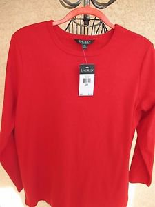 Ralph Lauren Blouse Soft Stretch Knit Crew Neck Top Long Sleeves Red New NWT