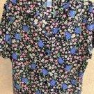 SAG HARBOR Shirt XL Blue Pink Floral Short Sleeves Polyester Top New NWOT