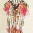 Cato 22W 24W Blouse Stretch Floral Top Rust Brown Lace Embellished Stretchy NWOT