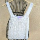 Pure Silk Tank Top M Medium Misses Off White Hand Beaded Butterfly Label Opera