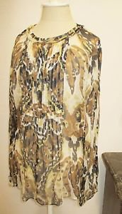 Elie Tahari M Blouse Silk Top Black Beige Animal Print Sheer Snap Buttons New