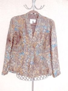 Coldwater Creek L Blazer 14 16 Tapestry Jacket Brown Blue Career New Long Slvs