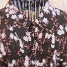 Apt 9 Shirt XL Brown Pink Floral Long Sleeves Semi Sheer Top New NWOT