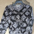 Coldwater Creek 10 Jacket Medium Floral Cotton Flower Black White Lined New NWOT