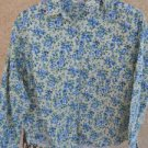 Basic Editions M Medium Shirt Button Front Blue Yellow Floral Long Sleeves New