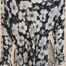 Hillard & Hanson M BlouseTop Silk Black Beige Floral New 3/4 Ruffled Sleeves New