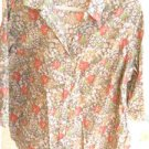 Charter Club Button Down Shirt 20W Linen Cotton Floral Green Orange Great Used
