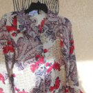 Sag Harbor Size 12 Shirt Floral Long Sleeves Semi Sheer Polyester New With Tags