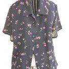 Style & Co Petite 10 Floral Shirt Small Top Black Pink Flowers Roses New NWOT