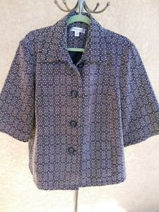 Coldwater Creek 2X Car Coat Plus Size Gray White 3/4 Long Sleeves Lined New NWOT