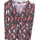 East 5th Blouse XL Stretchy Leaves Print Top Rust Beige Black Fall Colors New