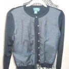 Lauren Ralph Lauren Sweater PM Petite Medium Cardigan Black White Polka Dots New