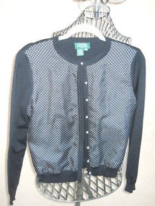 Lauren Ralph Lauren Sweater PM Petite Medium Cardigan Black White Polka Dots New