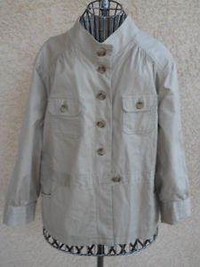 Safari Bush Jacket XXL Woman Cotton Sand Beige Button Front Many Pockets New