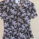 Fred David PM Shirt Floral Short Sleeves Top Brown White Flowers New NWOT