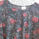 Bentley 3X Plus Blouse Top Stretchy Black Burgundy Floral Used Great Condition