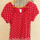 Rebecca Malone XL Blouse Soft Stretch Knit Red White Floral Print Career Top