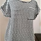 Merona XXL Top Stretch Soft Knit Thick Cotton Striped Navy White Short Sleeve