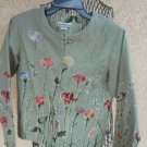 Coldwater Creek PXS Jacket Petite Floral Cotton Flower Pink Green Yellow New