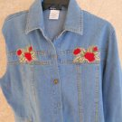 Denim Shirt Large L Embroidered Red Rose Floral Embellished Misses Gepetto NWOT