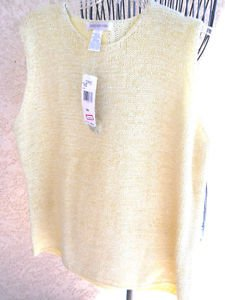 Jones New York Sweater 3X Pale Yellow Heavy Knit Sleeveless Vest New With Tags