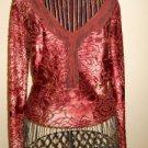 Hanky Panky Ruffled Top Size S Small Misses Burnout Velvet Long Sleeves Rust EUC