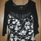 Black White Floral Top Shirt Petite PS Embellished Piano NWOT