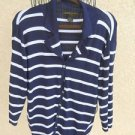 Linda Matthews 1X Cardigan Sweater Navy Blue White Striped Career New w Defect