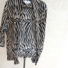 Animal Print Soft Blazer Size 2X Black Cinnamon Zebra Sripes Excellent Used