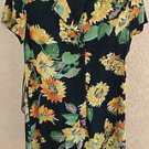 Carole Little Size 10 Dress Black Yellow Sunflowers Floral Mid-calf Short Sl New