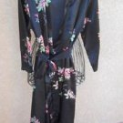 Jones NY Floral Robe S M Flowers Shiny Polyester Black Pink Sleepwear New NWOT