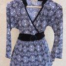 Susan Lawrence Top M Blouse Black White Floral Velvet Accents Belt Ties Top New