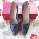 Salvatore Ferragamo 9.5 AA Shoes Navy Blue Genuine Leather Upper Tassels EUC