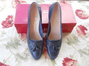 Salvatore Ferragamo 9.5 AA Shoes Navy Blue Genuine Leather Upper Tassels EUC