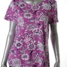 Charter Club Knit Top Misses XL Purple Floral Stretchy Sale Shirt NEW NWT
