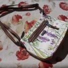 Dana Buchman Handbag Floral Used Faux Leather Small Hobo Purse Silver Hardware