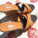 Hype 8.5 M Slides Genuine Leather Shoes Brtish Tan Platform New Rhinestones