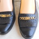 Salvatore Ferragamo 9 2A Navy Blue Shoes Fringes Gold Chain Leather Pumps EUC