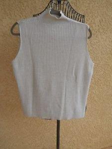 Karen Scott Sweater XL Turtleneck White Gold Metallic Career Tank Top Good Used