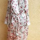 1X Floral Robe Plus Size Hibiscus Flowers Shiny Polyester Sleepwear New NWOT