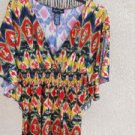 Susie Rose M Blouse Tunic Stretch Red Yellow Geometric Print Bat Sleeve New NWOT
